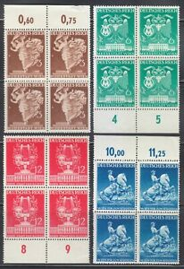 Germany 1941 MNH Mi 768-771 Sc 502-505 Vienna Fair. Blocks of 4 **