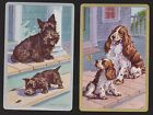 2 Single VINTAGE Swap/Playing Cards DOGS SCOTTIE SPANIEL CRICKET Artist M DENNIS
