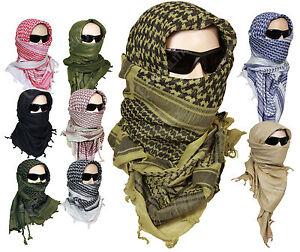 100% Cotton Shemagh Head Scarf - Military Wrap Desert Keffiyeh Arab Army New
