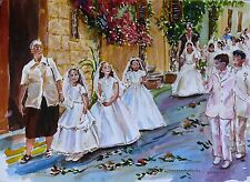 """Stordimento doranne Alden ORIGINALE """"Corpus Christi a Malta"""" dipinto ad acquerello"""