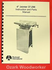 """ROCKWELL 4"""" Jointer 37-290 Operating & Parts Manual 0606"""
