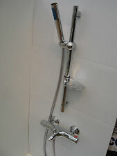 THERMOSTATIC WALL MOUNTED BATH SHOWER MIXER TAPS, HANDHELD & RAIL SET, 331/104