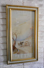 VINTAGE ERNEST MONTAUT POSTER DEPICTS VEHICLE & ZEPPELIN AIRSHIP: READY TO HANG!