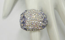 STERLING SILVER FASHION DOME RING with BLUE AND WHITE CZ'S SIZE 8 N13-O