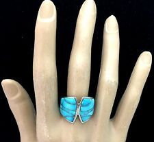 Southwestern Sterling Silver Turquoise Inlay Ring. Signed: Dine'