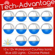 10 X 12V ISONIC BLUE LED FLUSH MOUNT CHROME COURTESY STAIRS BOAT CARAVAN LIGHT
