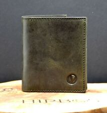 Mens Italian Bifold Leather Card Wallet with ID Window Grey
