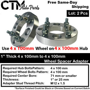"2PC 1"" THICK 4x100mm TO 4x100mm WHEEL ADAPTER SPACER FIT CHEVY HONDA TOYOTA&MORE"