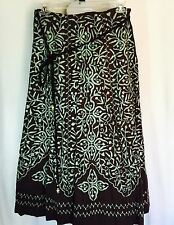 Soft Surroundings Skirt Large Maxi Boho Fully Embroidered Belted Cruise Hostess