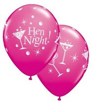 "6 x Hen Party Decoration Girls Night Out Bubbly Martini 11"" Latex Balloons"