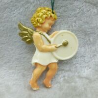 Vintage Hard Plastic Angel Musician Christmas Ornament Drum Germany 2in