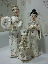 Lefton Rhinestone Oriental Japanese Man Boy Geisha Woman Asian Figure Figurines