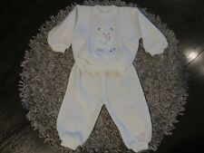 Ensemble bébé garçon pull, pantalon motif ourson Taille 18 mois blanc NEUF