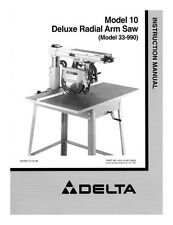 Delta 33-990 Model 10 Deluxe Radial Arm Saw Instruction Manual