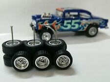 Hot Wheels 1/64 Rubber Wheels Real Riders Chevy Gasser Silver/Chr 10/12mm 3 sets