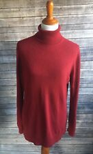 Ann Taylor Cashmere Turtleneck Sweater Solid Red Soft Holiday Womens Size XL