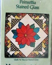 Christmas wall hanging quilt stained glass Poinsettia pattern 33x33