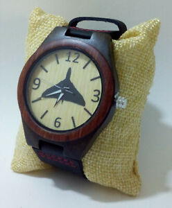 Vulcan motif watch, wooden case, M/F, Friend or Foe, Miyota Quartz, Aviation
