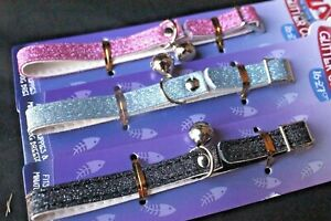 Stretch Elastic + Bell Safety Collar Glitter Sparkle Fancy Pet Cat Kitten Puppy