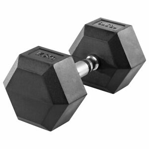 Hex Rubber Dumbbell Chrome plated steel with knurled handle Durable rubber coat