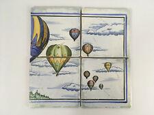 4 Vintage Italian Ceramic Decorative Tiles Hot Air Balloon Design - Half Panel