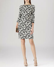 New REISS Arabella Black & Cream Floral Jacquard Fitted Dress Size 12 BNWT £169