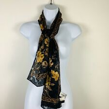 Liz Claiborne Accessories Womens Scarf Black Tan Neutral Floral New HA4