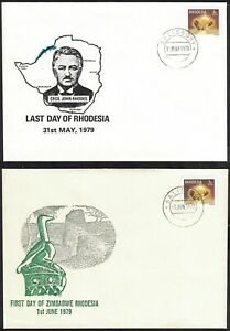 1979, LAST DAY OF RHODESIA FIRST DAY OF ZIMBABWE, TWO COVERS.