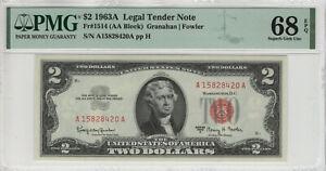 1963 A $2 LEGAL TENDER RED SEAL NOTE AA BLOCK FR.1514 PMG SUPERB GEM UNC 68 EPQ
