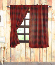 CUMBERLAND PLAID PANEL 63x36 SET : BUFFALO RED BLACK CHECK CABIN CURTAIN DRAPES
