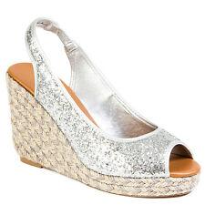 Black Gold Silver Glitter Platform Wedge Open toe Espadrille Women shoes Laboom