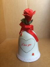 """1986 Lefton China 05804 """"I Love You"""" Bell With A Red Rose On Top."""