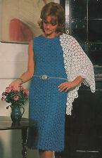Crochet Pattern Lady's Sleeveless Dress & Shawl. 37 to 43 inch Bust.