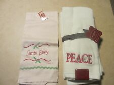 """Peace"" Decorated Set Of 2 Hand Towels by St. Nicholas Square New + one other"