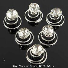 5 Hairpins Faux Crystal Clear Solitaire Spiral Coil Hair Pins Wedding Bridal Deb