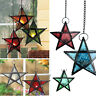 Metal Glass Hanging Star Lantern Candle Tea Light Holder for Wedding Party Decor
