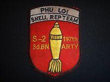 Vietnam War Patch S-2 3rd Bn 197th Artillery Rgt 1st Inf. PHU LOI SHELL REP TEAM