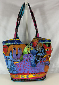 NEW Laurel Burch Dogs & Cats Bag Large Canvas Tote w/Charm Original Tags
