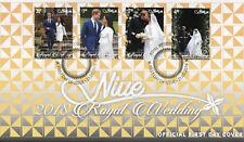 Niue 2018 FDC Prince Harry & Meghan Royal Wedding 4v Set Cover Royalty Stamps