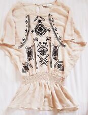 FOREVER 21 Women's Ladies Girl's Top Offwhite Tunic Black Embroidery Small S/P