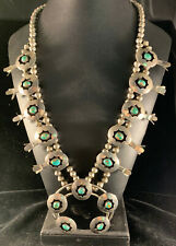 Vintage Native American Silver Turquoise Squash Blossom Necklace