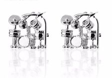 Gift Bag + Quality Silver Tone Drums Set cuff links Silver Cufflinks Music Rock