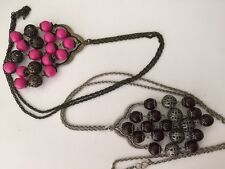 2 Avon Mark Pink Brown Bead Necklace Long Statement Excellent Rock To The Bead