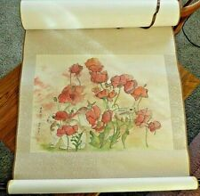 Debbi Chan saccomanno Original Hand Painted Watercolor scroll Flowers & Rabbit