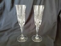 Gorham Crystal Serena Pattern 2 Toasting Champagne Flutes Rare Beautiful Cuts