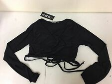Boohoo Womens Orla Strappy Wrap Front Long Sleeve Black Bralet US XL
