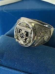 SIZE 12 NAUTICAL SAILOR ANCHOR EAGLE  925 STERLING SILVER  BLACK ONYX & CZ  RING