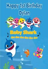 Personalised Baby Shark Birthday Card - Blue or Pink Text