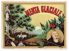 C1900 BOTTLE LABEL CHROMOLITHOGRAPH ITALY ALCOHOL ORIGINAL MENTA GLACIALE MONK