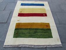 Old Traditional Hand Made Persian Oriental Cream Wool Gabbeh Rug 197x148cm